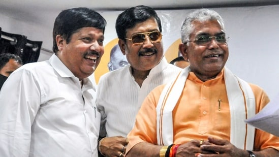 BJP Lok Sabha MP Arjun Singh (L) with party leader Sabyasachi Dutta(C) and West Bengal State BJP President Dilip Ghosh(L) during a BJP joining event, in Kolkata. (PTI Photo)