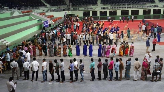 Front line workers at a vaccination centre in Chennai. (PTI)
