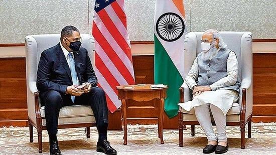 US Secretary of Defense Lloyd James Austin III called on Prime Minister Narendra Modi, in New Delhi. (ANI Photo)