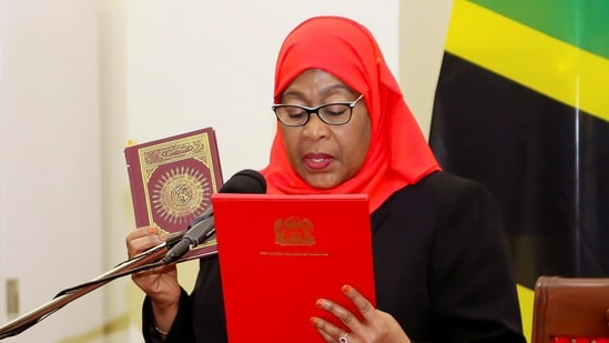 Tanzania's new President Samia Suluhu Hassan takes oath of office in Dar es Salaam, Tanzania.(Reuters)