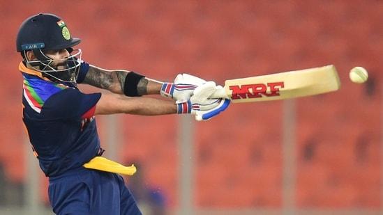 Ahmedabad: Indian skipper Virat Kohli plays a shot during fifth and final T20 cricket match between India and England, at Narendra Modi Stadium in Ahmedabad.(PTI)