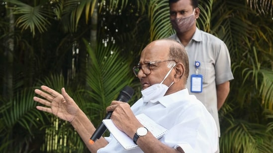 Sharad Pawar also met politicians from coalition partners Shiv Sena and Congress on Sunday to explain the NCP decision to back Deshmukh(PTI Photo)(PTI)