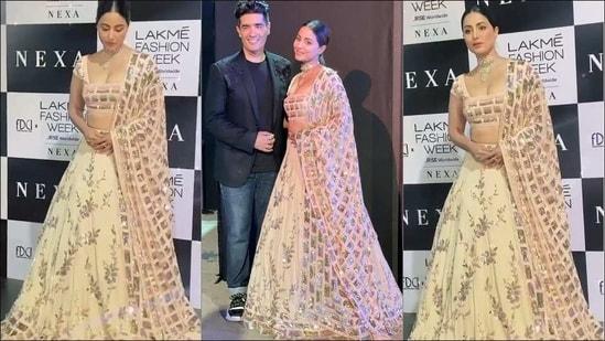 LFW 2021: Hina Khan looks straight out of a fairytale in Manish Malhotra lehenga(Instagram/hina.bliss/realhinakhan)