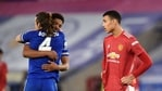 Soccer Football - FA Cup Quarter Final - Leicester City v Manchester United - King Power Stadium, Leicester, Britain - March 21, 2021 Manchester United's Mason Greenwood as Leicester City's Caglar Soyuncu and Wesley Fofana celebrate after the match REUTERS/Oli Scarff(REUTERS)