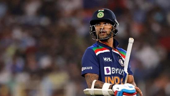 Cricket - First Twenty20 International - India v England - Narendra Modi Stadium, Ahmedabad, India - March 12, 2021 India's Shikhar Dhawan walks off after losing his wicket REUTERS/Danish Siddiqui(REUTERS)