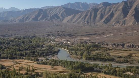 FILE PHOTO: River Indus flows through Leh, in the Ladakh region, September 14, 2020. (Reuters)
