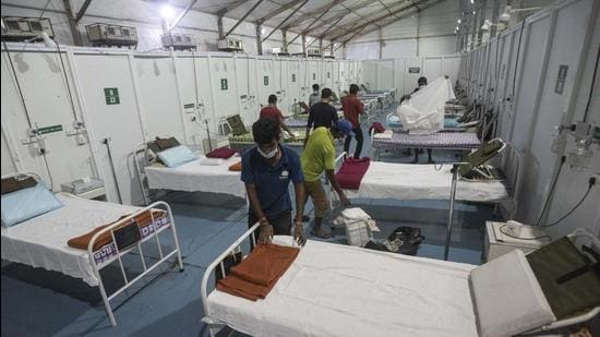 The Covid jumbo facility at College of Engineering (COEP) is being readied to admit patients. (Pratham Gokhale/HT Photo)