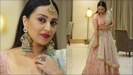 Swara Bhasker flaunts 'tootie-frootie' look in <span class='webrupee'>₹</span>3.8 lakh lehenga at Lucknow(Instagram/reallyswara)