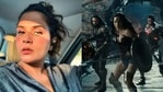 Richa Chadha reacts to a scene from Justice League.