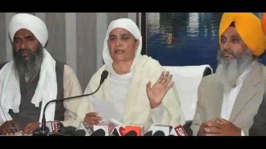 A file photo of Shiromani Gurudwara Prabhandak Committee president Bibi Jagir Kaur addressing a press conference.