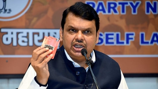 BJP leader Devendra Fadnavis addresses a press conference, in Mumbai on Tuesday. (ANI Photo)