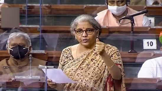 Union Minister Nirmala Sitharaman speaks in the Lok Sabha during the Budget Session of Parliament, in New Delhi, Tuesday, March 23, 2021. (PTI)