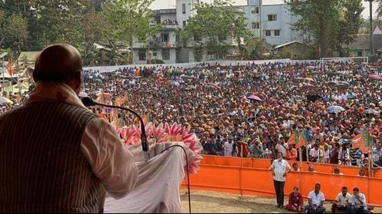 Union defence minister Rajnath Singh at a poll rally in Assam's Lumding on Tuesday. (TWITTER/@rajnathsingh.)