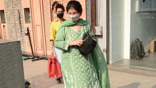 Sanya Malhotra and her mother after a shopping trip.