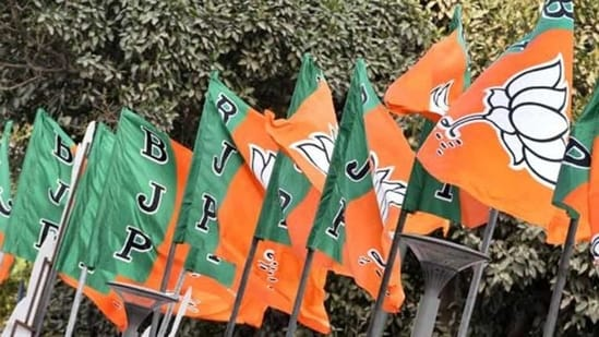 BJP flags at the party headquarter in New Delhi.(HT File Photo)