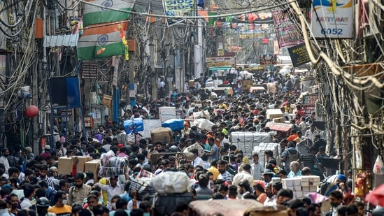 People not adhering to social distancing norms, at Sadar Bazaar in New Delhi, Wednesday, March 24, 2021.(PTI)