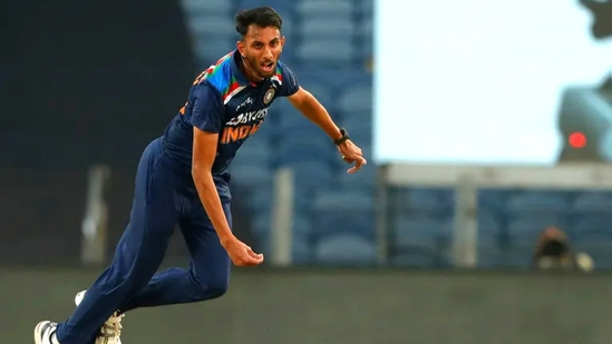 Prasidh Krishna in action during the first India vs England ODI in Pune(Twitter)