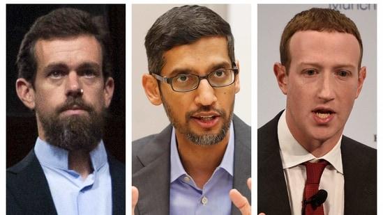 This combination of 2018-2020 photos shows, from left, Twitter CEO Jack Dorsey, Google CEO Sundar Pichai, and Facebook CEO Mark Zuckerberg. (AP)