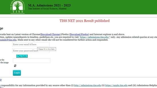 TISSNET Result 2021(Screengrab )