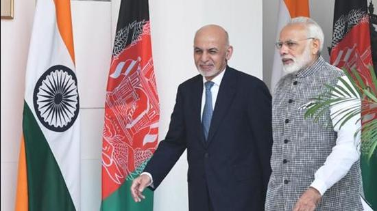Prime Minister Narendra Modi with Afghanistan President Mohammad Ashraf Ghani at Hyderabad House in New Delhi, on October 24, 2017. (HT archive)