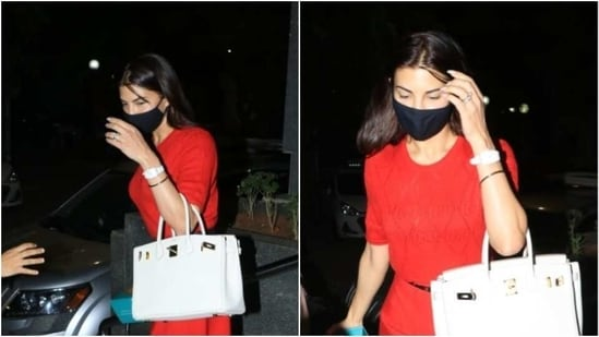 Jacqueline Fernandez was recently spotted running errands in Mumbai and saying that she looked fabulous in her mini red dress would be an understatement.(Varinder Chawla)