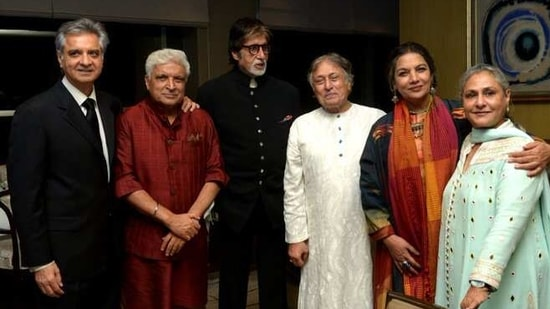 Amitabh, Jaya, Javed and Shabana pose together in this 2017 picture.