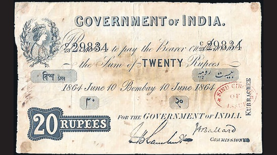 Among the first notes printed for India in 1861. This early currency note bore the portrait of Queen Victoria, helping the British establish their power over India. (REZWAN RAZACK)