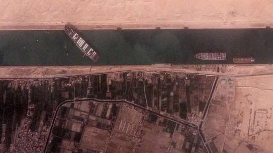 The 400-meter, 224,000-tonne Ever Given container ship, leased by Taiwan's Evergreen Marine Corp, blocks Egypt's Suez Canal.(REUTERS)