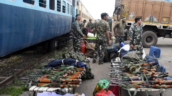 CRPF personnel arriving for the upcoming Bengal elections, at the Chitpur Rail Yard in Kolkata on Saturday. (ANI)