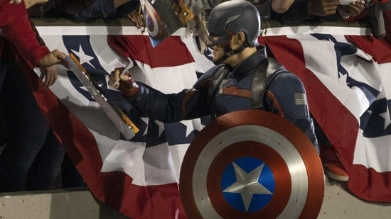 Wyatt Russell as John Walker, the new Captain America, in a still from The Falcon and the Winter Soldier.