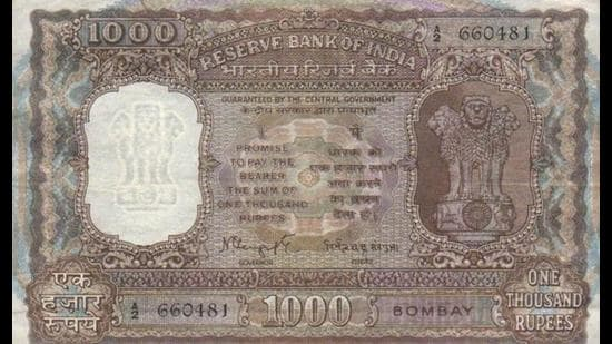 A <span class='webrupee'>₹</span>1,000 note from the era before cheques and digital transfers. (REZWAN RAZACK)