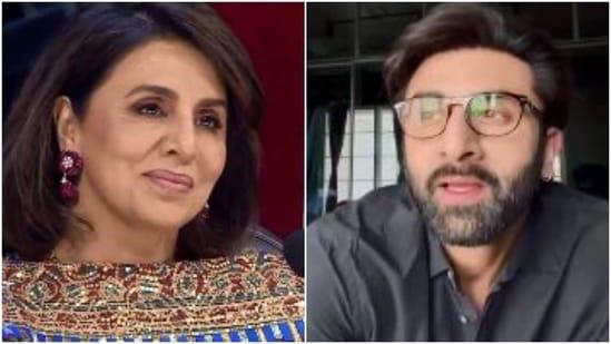 Neetu Kapoor and Ranbir Kapoor on Indian Idol.