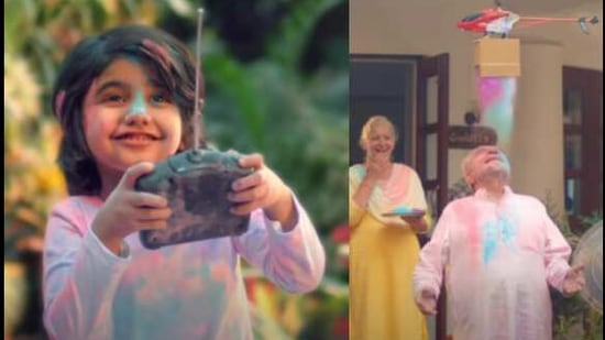 The image is a screengrab from the Holi 2021 special advertisement showing a socially distant Holi.(YouTube/@Surf excel)