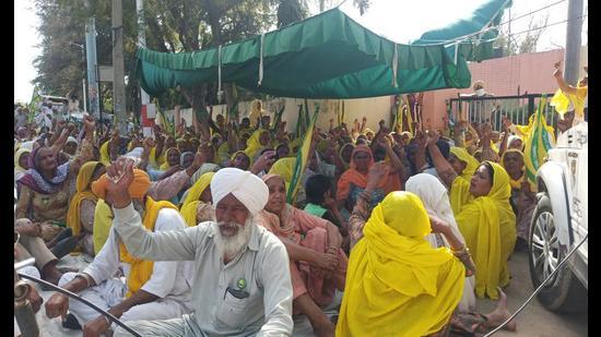 Farmers protesting in Barnala on Saturday.