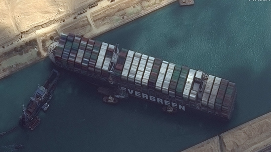 Ever Given container ship is pictured in Suez Canal in this Maxar Technologies satellite image taken on March 26, 2021. Maxar Technologies/Handout via REUTERS ATTENTION EDITORS - THIS IMAGE HAS BEEN SUPPLIED BY A THIRD PARTY. MANDATORY CREDIT. NO RESALES. NO ARCHIVES. DO NOT OBSCURE LOGO. (VIA REUTERS)