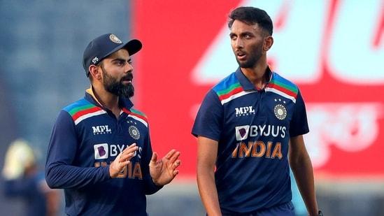 Indian Skipper Virat Kohli and Prasidh Krishna during the 2nd ODI between India and England at Maharashtra Cricket Association Stadium in Pune on Friday.(BCCI/ANI Photo)