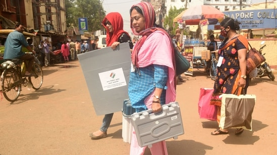 Polling officials leaving for their booths with Electronic Voting Machines (EVM) and other polling material a day before the first phase of Assembly Election in the state, at Midnapore, West Bengal on Friday, March 26, 2021. (Samir Jana/HT Photo)