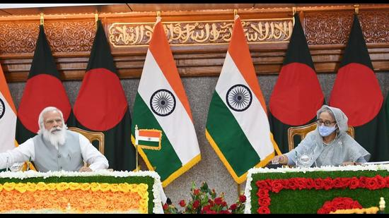File photo: Prime Minister Narendra Modi and Prime Minister of Bangladesh Sheikh Hasina during the inauguration of the various projects in Dhaka, Bangladesh. (PTI)