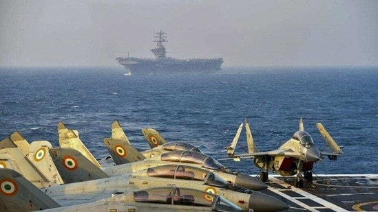 Indian MiG-29K multi-role fighters on the deck of INS Vikramaditya during the second phase of the Malabar naval exercise in the Arabian Sea on November 17 2020.(AFP File Photo/Indian Navy)