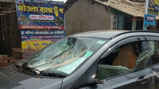 BJP leader Soumendu Adhikar's damaged car (ANI)