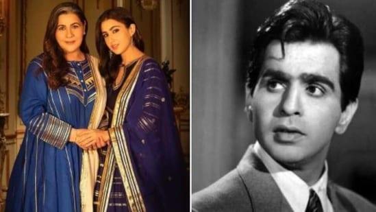 Amrita Singh's grand aunt Begum Para was married to Dilip Kumar's brother Nasir Khan.