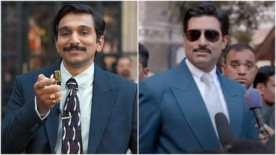 Pratik Gandhi in Scam 1992: The Harshad Mehta Story, and Abhishek Bachchan in The Big Bull.