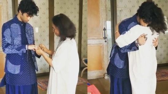Irrfan Khan's son Babil and Sutapa Sikdar ahead of an awards ceremony.