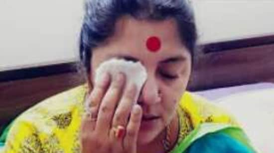 BJP MP Locket Chatterjee told reporters that the colours led to burning sensation in her eye.(ANI Photo)