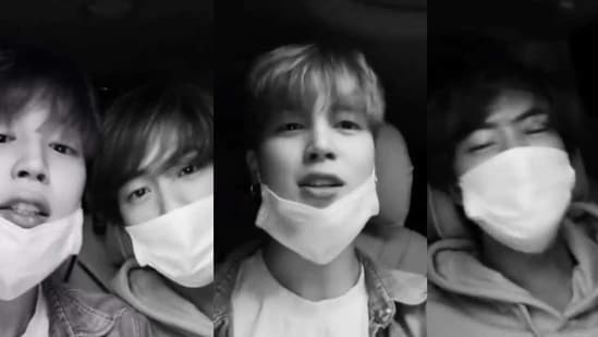 BTS singers Jin and Jimin sang songs such as Blue & Grey, Dynamite and Dis-ease during a car karaoke session.