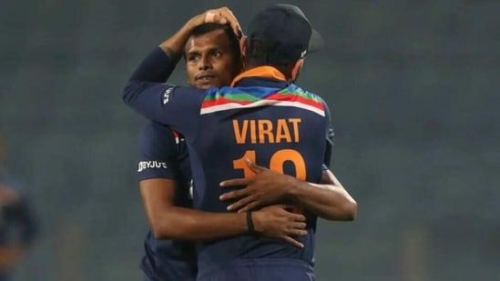 Indian captain Virat Kohli celebrates India's win in the third ODI with pacer T Natarajan(BCCI)