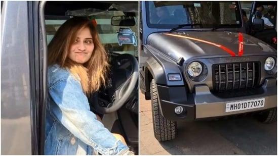 Arti Singh poses in her new car.