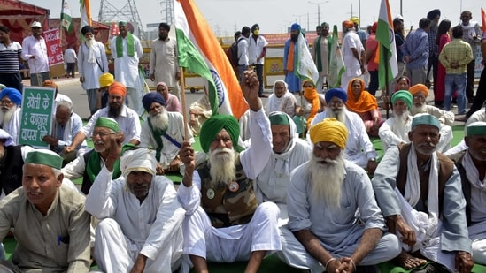 Farmers blocked both carriageways of the highway at Ghazipur border in New Delhi, India on Friday, March 26, 2021. (Photo by Sakib Ali /Hindustan Times)