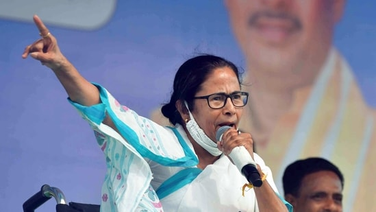 West Bengal Chief Minister Mamata Banerjee addresses during a public meeting, in Kharagpur on Saturday. (ANI)