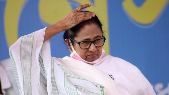 West Bengal chief minister Mamata Banerjee during a public meeting, in East Midnapore on Sunday. (ANI Photo)